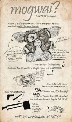 The Doctor's note in his Journal of Impossible things about Mogwai and Gremlins. Weird Creatures, Fantasy Creatures, Gremlins Gizmo, Horror Decor, Retro Logos, New Art, Childhood Memories, Nerdy, Geek Stuff