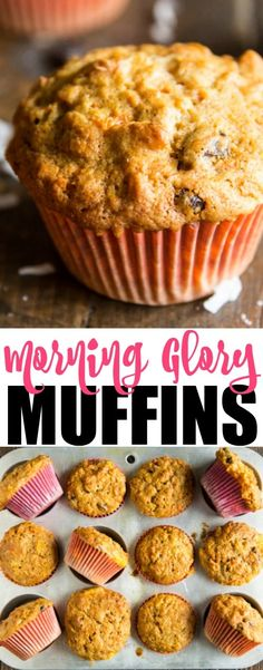 The original Morning Glory Muffins recipe. Packed with carrots, apples, pineapple, raisins, coconut, and walnuts, these muffins are great for breakfast, brunch, or snacking!