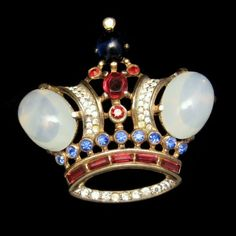 Wonderful TRIFARI Large Vintage Crown Brooch Jelly Red Blue Green Rhinestones, $300 from www.myclassicjewelry.com - Crown brooches are very popular - do you wear and/or collect them?