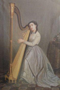 Portrait de Mariquita Miralles jouant de la harpe. - Pinterest