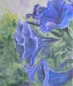 Aceo Blue Morning Glories reproduction of original painting  #Realism
