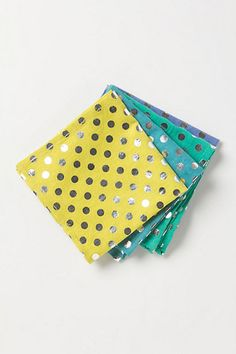 #anthropologie foil dot napkins on clearance for $4.95 we might have just bought 4 sets of each color...