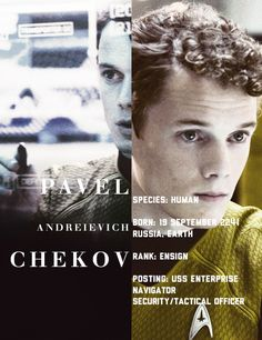 Chekov has the same birthday as me granted a while in the future but the same day nonetheless.