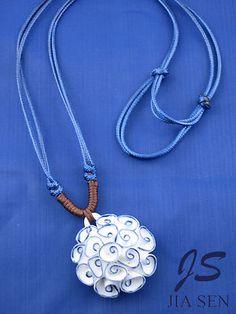 Blue and White Porcelain Ceramic HandMade Necklace