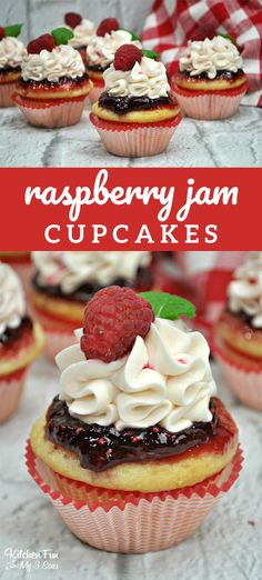 Raspberry Jam Cupcakes recipe. These amazing cupcakes are topped with raspberry jam and homemade icing. #cupcakes #raspberry #jam #baking #food #foodblogger #yummy