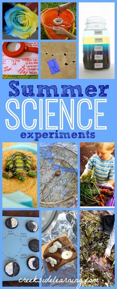 Easy science experiments for kids:  Summer Edition. Beach, garden, water, s'mores, maps, turtles, ants, space, tide pools, flowers, and more from Creekside Learning.