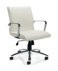 Offices To Go White Ribbed Back Conference Chair