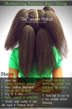 I explain in this link various stretching methods (with pictures) for natural hair and why the tension method is the most effective and efficient for our needs. The tension method does involve heat but without applying the heat so close to the hair. We use the tension method only after the hair has been properly cleaned, deep conditioned, and moisturized. This method of stretching works great for braiding/cornrowing/flat-ironing #naturalhair. #beautifullycurled #pictorial #howto