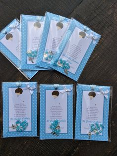 12 Baptism Boy favors bookmark with mini by Nandospartysupply