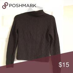 Brown cable knit turtleneck sweater Brown synthetic cable knit sweater Anne Klein Sweaters Cowl & Turtlenecks