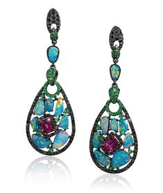 Opal and Tourmaline Earrings by Wendy Yue