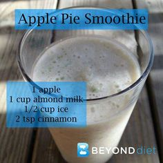Apple pie smoothie---yummy---a little rich in taste and watery consistency at the same time...less ice a little more almond milk cut back a smidge on the cinnamon and add some nutmeg...makes enough for two to have a sweet treat to sip on !