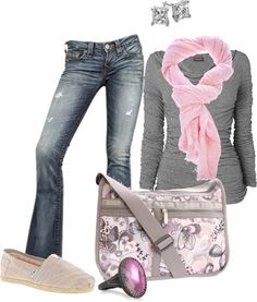Pink and gray, casual, with denim, Yes, yes I will