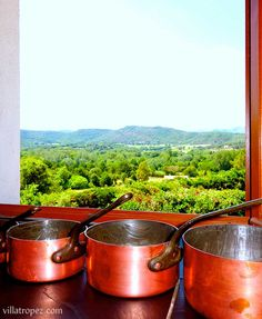 Traditional french copper saucepans lined up in a Provence farmhouse kitchen of a rental Villa in Provence, close to St Tropez. www.villatropez.com Saucepans, Natural Stone Flooring, Open Plan Living, Moscow Mule Mugs, Provence, Natural Stones, Villa, Copper, Farmhouse