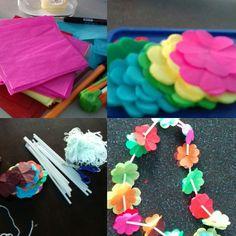 Papel china en forma de flor, popotes e hilo, es todo lo que necesitas para hacer ¡Collares Hawaianos!