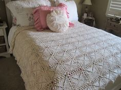 Vintage Hand Crochet Bedspread by VintageEstateLiving on Etsy, $79.99