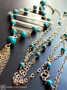 The Long Turquoise And Gold Diamond Shaped Necklace With Tassel - Magda Molina Designs
