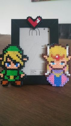 Link and Zelda perler bead picture frame | Self made wedding anniversary gift for my sister <3