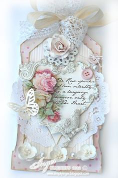 Inger Harding                                                                                                                                                     More Vintage Shabby Chic, Shabby Chic Cards, Vintage Handmade Cards, Handmade Tags, Vintage Tags, Handmade Greeting Card Designs, Tag Art, Labels, Card Tags