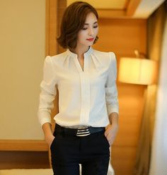 Winter Women Shirts 2016 New Fashion V-neck Collar White Long Sleeve Shirt Thicken Ladies Formal Blouses And Tops Supernatural Style Long Sleeve Tops, Long Sleeve Shirts, Formal Blouses, The Office Shirts, Mode Hijab, Mode Outfits, Work Attire, Mode Inspiration, Mode Style