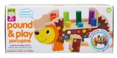A fun colorful developmental toy Baby will love! This classic wood pounding activity features 8 colorful pegs and mallet.  The Pound & Play Porcupine is uniquely designed and stands when flipped over. So after baby finishes playing on one side, just flip and keeping playing! 10+ months.