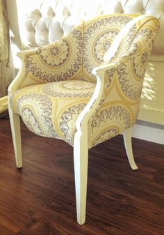 Beau Newly Upholstered Vintage Chair In Grey, Yellow U0026 White
