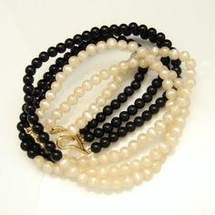 MONET Vintage Necklace 3 Multi Strands Black White Creamy Faux Pearls #Monet #StrandString