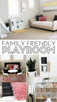 Clean, Chic and family friendly playroom design. Playroom Layout, Modern Playroom, Playroom Organization, Playroom Design, Playroom Decor, Home Decor Bedroom, Living Room Decor, Playroom Ideas, Kid Playroom