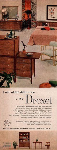 John Van Koert DREXEL FURNITURE Counterpoints MID CENTURY MODERN '57 Magazine Ad