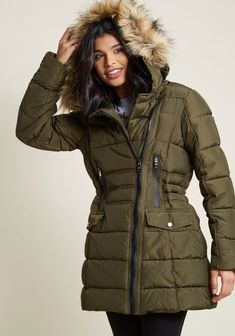 A blustery jaunt through the Big Apple is no match for this olive green coat by Steve Madden! Formidably designed with a puffy silhouette, a buttoned high. Plus Size Outerwear, Plus Size Coats, Fall Winter Outfits, Winter Wear, Winter Coats Women, Coats For Women, Green Coat, Parka Coat, Everyday Dresses