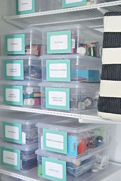 18 Creative Ways to Take Your Organization and Storage to the Next Level - craft room storage - Craft Room Storage, Craft Closet Organization, Closet Storage, Organize Craft Closet, Craft Room Closet, Organizing Office Supplies, Craft Rooms, Office Supply Organization, Craft Storage Ideas For Small Spaces