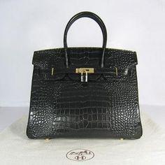 Hermes 35 CM Noir Crocodile(Gold)