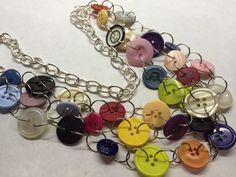 30 Inch Vintage Button Necklace