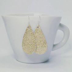 Leather metallic golden tone earrings on sterling silver by zima
