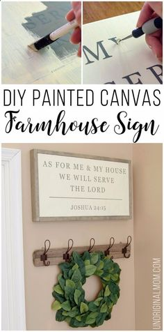 Best Country Crafts For The Home - DIY Painted Canvas Farmhouse Sign - Cool and Easy DIY Craft Projects for Home Decor, Dollar Store Gifts, Furniture and Kitchen Accessories - Creative Wall Art Ideas, Rustic and Farmhouse Looks, Shabby Chic and Vintage Decor To Make and Sell diyjoy.com/... #diydecoratingideasforthehome #shabbychicideasprojects