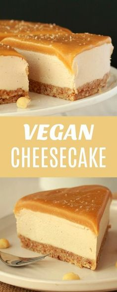 cheesecake with a salted caramel fudge sauce topping! This ultra creamy ch Vegan cheesecake with a salted caramel fudge sauce topping! This ultra creamy ch. -Vegan cheesecake with a salted caramel fudge sauce topping! This ultra creamy ch. Vegan Treats, Vegan Foods, Yummy Vegan Food, Vegan Sauces, Vegan Dessert Recipes, Whole Food Recipes, Vegetarian Desserts, Free Recipes, Easy Recipes