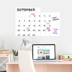 Dry Erase Calendar Wide Wall Decals Wall Decor Stickers