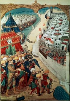 Troops of Sultan Mohammed II laying siege to Constantinople in 1453, miniature, Turkey 15th Century.