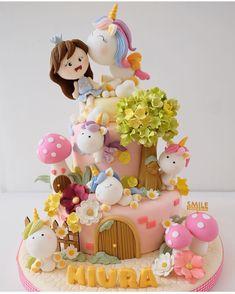 Broccoli and coconut cake - Clean Eating Snacks Baby Birthday Cakes, Unicorn Birthday Parties, Unicorn Party, Unicorn Cakes, Fondant Cakes, Cupcake Cakes, Dream Cake, Girl Cakes, Savoury Cake