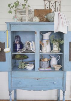 I know there are all sorts of fall tours going on, so I'm grateful you've taken the time to visit our little cottage for my take on fal. Shabby Chic Cottage, Cottage Style, French Cottage, Antique Pie Safe, Narrow Dresser, Country Decor, Country Blue, Furniture Inspiration, Furniture Makeover