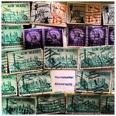 Some wonderful old air mail stamps. Ever use one of these?
