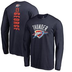 d3066d9bde0 Paul George Oklahoma City Thunder Fanatics Branded Backer Name   Number  Long Sleeve T-Shirt - Navy