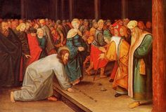 Christ and the Adulteress, Oil On Panel by Pieter Bruegel The Younger (1564-1636, Belgium)