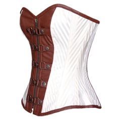 Beautiful ivory steel boned steampunk inspired corset. Perfect for renaissance and steampunk festivals. Shop The Corset Lady for more corsets.