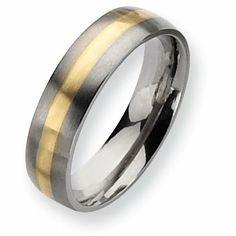 Genuine Chisel (TM) Band. Titanium 14k Gold Inlay 6mm Brushed Band (Finger Size 9). 100% Satisfaction Guaranteed. Chisel,http://www.amazon.com/dp/B009EAP9UI/ref=cm_sw_r_pi_dp_u.Iqtb1BX883WJ4B