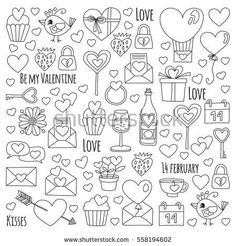 Valentine Day Vector Pattern Heart Cake Stock Vector (Royalty Free) 558194602 Valentine Day Vector pattern with heart, cake, balloon For invitations, coloring books, sale etc Vintage Typography, Vintage Logos, Graphics Vintage, Retro Logos, Vector Graphics, Vector Art, Doodle Drawings, Easy Drawings, Valentines Day Doodles