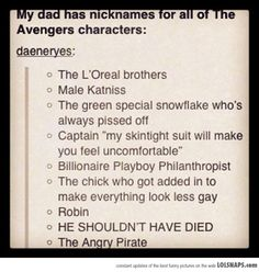 Avengers nicknames - I may have pinned this already, I still love it