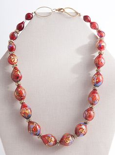 Red & Violet Glass Necklace, Necklaces, Jewelry - The Museum Shop of The Art Institute of Chicago