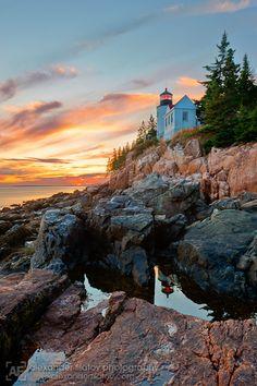 """""""Bass Harbor Head Lighthouse Sunset,"""" Acadia National Park, Maine"""