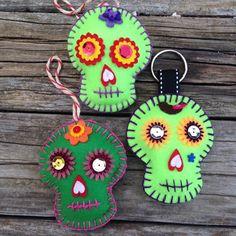 Green Felt Muertos ornaments $13 each. Stuffed with cotton, bright green felt, handmade, one of a kinds Other